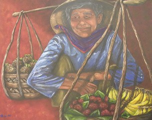 """Bamboo Baskets, Vietnam, Oil on canvas, 28""""x36"""", SOLD"""