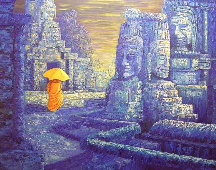 "Bayon Temple, Cambodia, Oil on canvas, 28""x36"", Private Collection"