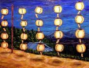 "Buddhist Lanterns, Acrylic on canvas, 18""x20"", SOLD"