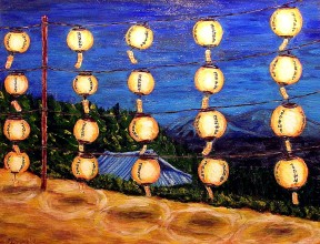 "Buddhist Lanterns, Acrylic on canvas, 18""x20"", SOLD"