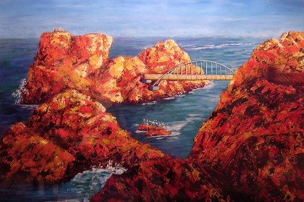 "Daewagnam Bridge, Korea, Acrylic on paper, 24""x30"""