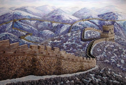 "The Great Wall in January, Acrylic on paper, 24""x30"""