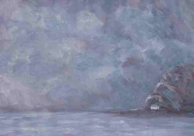 """White House #3, Oil on paper, 15""""x21"""""""
