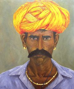 "Intensity, India, Oil on canvas, 20""x18"", SOLD"