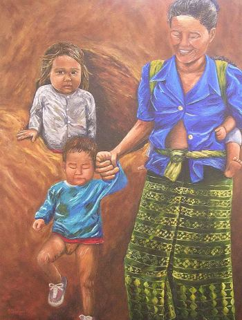 """Village People, Laos, Oil on canvas, 28""""x24"""", SOLD"""