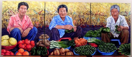 "Market Woman, Korea, Acrylic on canvas, 21""x53"""