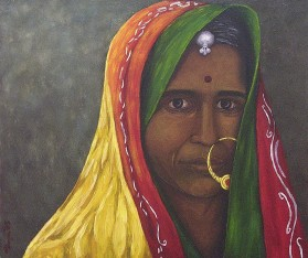 """Passionate Gaze, India, Oil on canvas, 18""""x20"""", SOLD"""