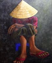 """Resting, Vietnam, Oil on canvas, 28""""x24"""", SOLD"""