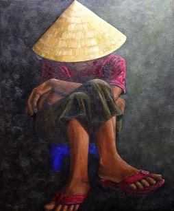 "Resting, Vietnam, Oil on canvas, 28""x24"", SOLD"