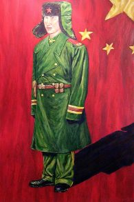 """The Soldier, China, Acrylic on paper, 30""""x24"""", SOLD"""