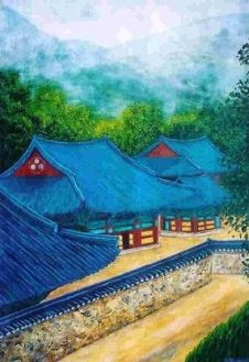 """Temple Rooftops, Korea, Acrylic on paper, 30""""x24"""", SOLD"""