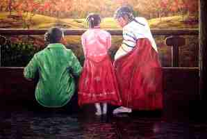 """The Hanbuk, Korea, Acrylic on paper, 24""""x30"""", Private Collection"""