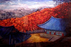 "Tongdo Sa Temple, Korea, Acylic on paper, 24""x30"""