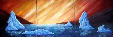 "Sunrise, Oil on canvas, 12""x36"", SOLD"