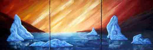 """Sunrise, Oil on canvas, 12""""x36"""", SOLD"""