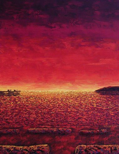 "Sunset On Kits, Oil on canvas, 36""x24"", SOLD"