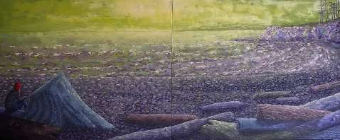 "The Sunshine Coast, Oil on canvas, 20""x48"", SOLD"