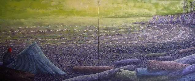 "The Sunshine Coast, Oil on canvas, 20""x48"", SOLD"