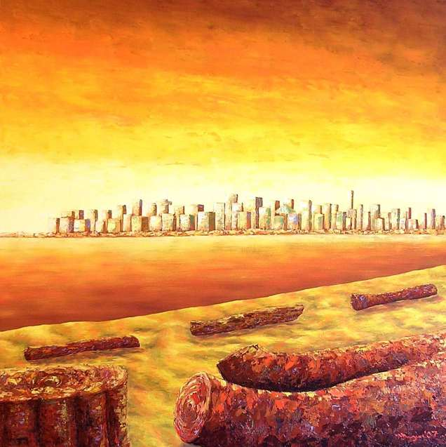 "Vancouver Skyline, Oil on canvas, 40""x40"", SOLD"