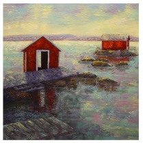 """The Fishermen's Stage, Acrylic on canvas, 24""""x24"""", SOLD"""