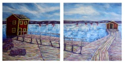 "The Wharf, Acrylic on canvas, 24""x48"", SOLD"
