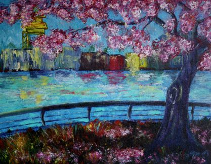 """Boat Houses on Granville Island, Acrylic on canvas, 14""""x18"""", SOLD"""