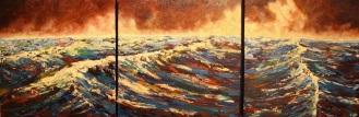 "Wonderment, Acrylic on canvas, 15"" x 45""-SOLD"