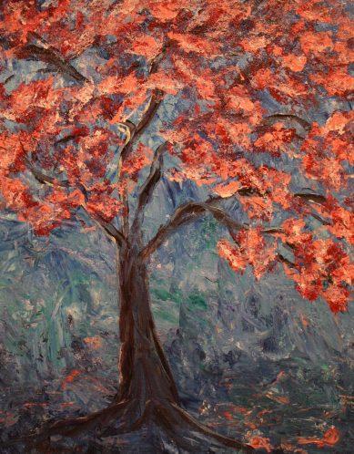 "Cherry Blossom, Acrylic on canvas, 18""x14"", SOLD"