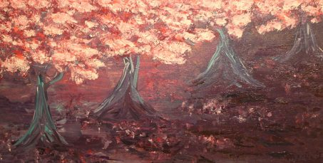 """Cherry Blossoms in the Park, Acrylic on canvas, 12""""x24"""", SOLD"""