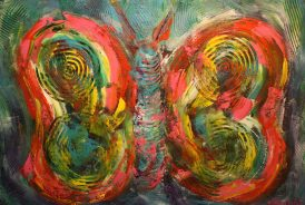 """Butterfly, Acylic on canvas, 24""""x36""""-SOLD"""
