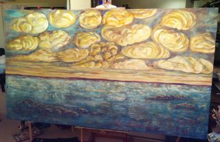 """A Curious Day, 48""""x84"""", Acrylic on canvas, Commissioned"""