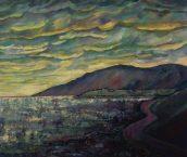 """Misty Blue Sunset, 34""""x42"""", Acrylic on canvas"""